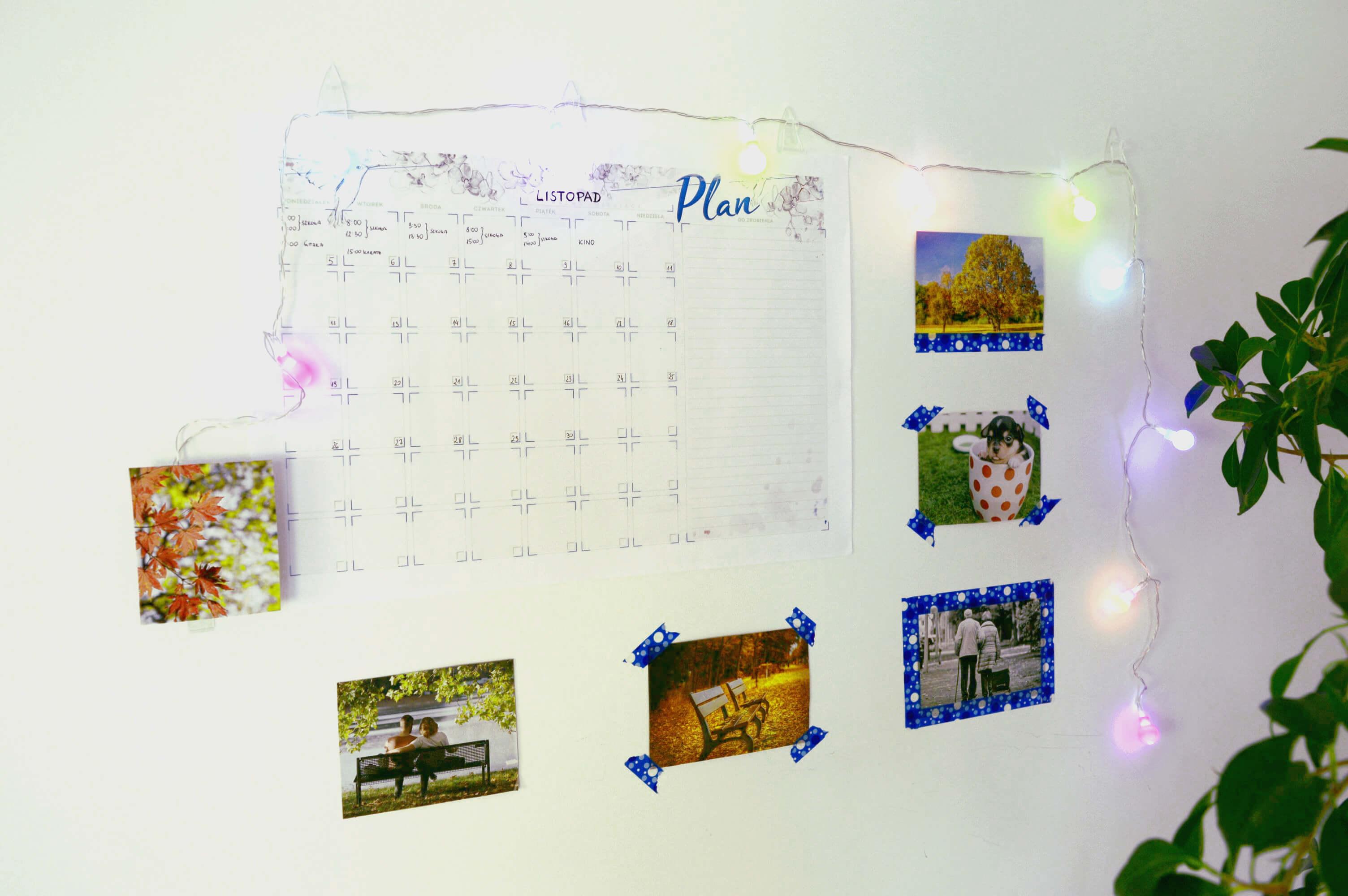 Planogram, planner miesięczny - ozdoba ściany