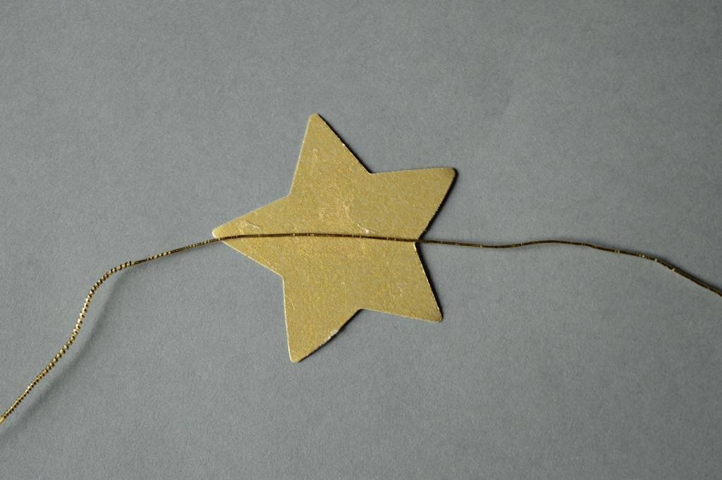 Ozdoba świąteczna - Złota gwiazdka - papierowy łańcuch DIY